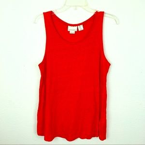 Cynthia Rowley Linen Tank Top Vivid Orange Large